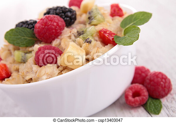 oatmeal with berries - csp13403047