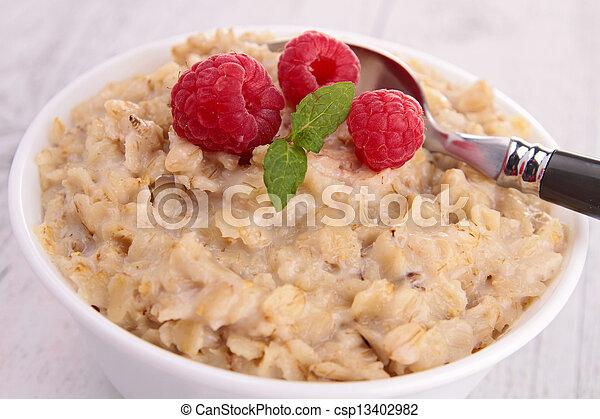 oatmeal with raspberries - csp13402982