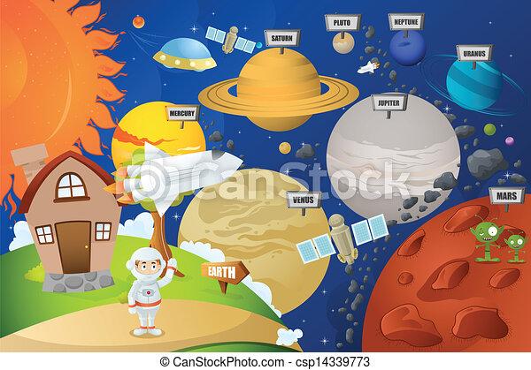 oběžnice, astronaut, systém - csp14339773