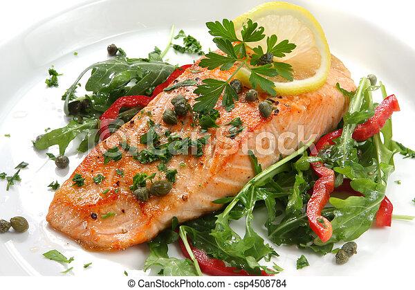 oběd, losos - csp4508784