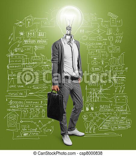 obchodník, lampa, hlavička - csp8000838