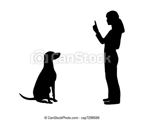 (obedience):, entrenamiento, command:, perro, sentarse - csp7298566