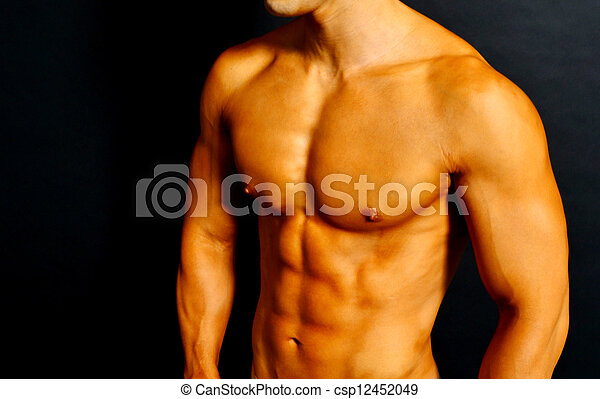 Oberkörper, muskulös. Muskeln, athletische, shirtless, haut ...