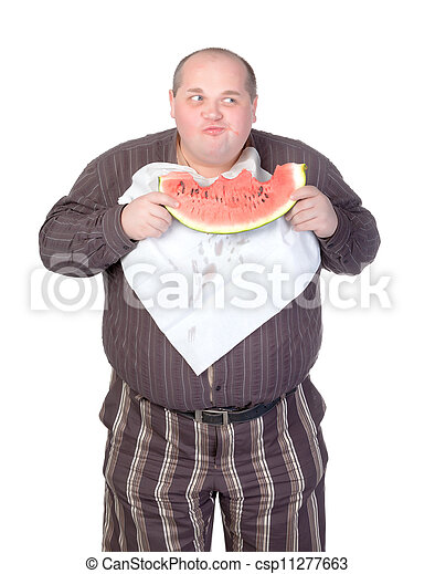 Obese man eating watermelon - csp11277663