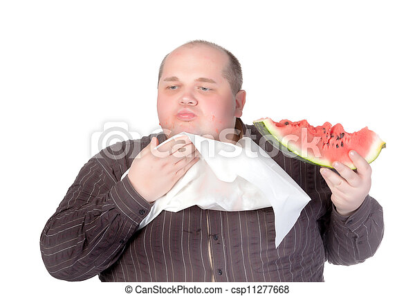 Obese man eating watermelon - csp11277668