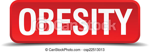Obesity red 3d square button isolated on white - csp22513013