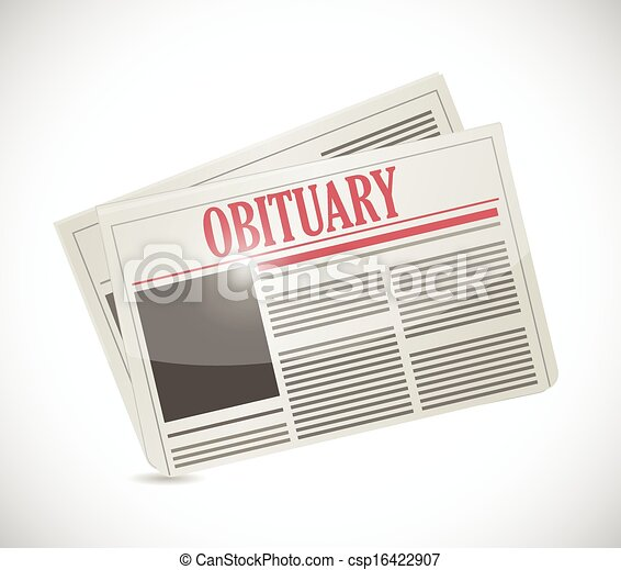 Obituary Newspaper Section Illustration Design Over A