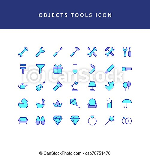 object tool filled outline icon set - csp76751470