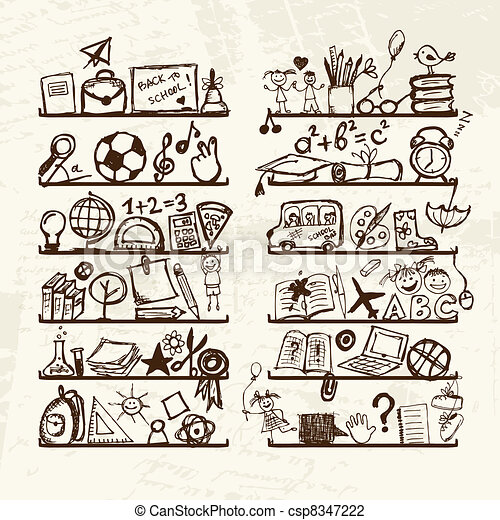 Objects for school on shelves, sketch drawing for your design  - csp8347222
