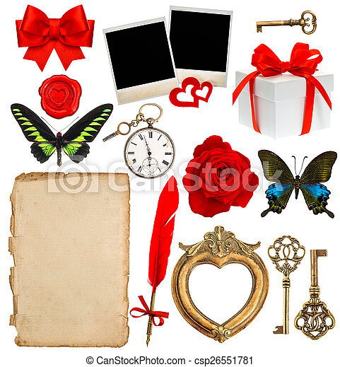 objects for scrapbooking. letter paper, photo frame, flower, but - csp26551781