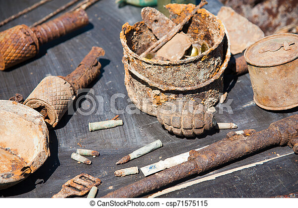 Objects found during excavations on the battlefield - csp71575115