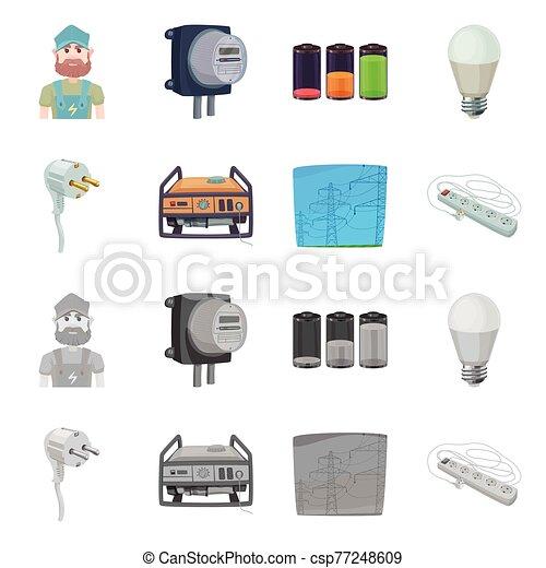 objeto, illustration., aislado, electricidad, eléctrico, acción, conjunto, energía, vector, signo. - csp77248609