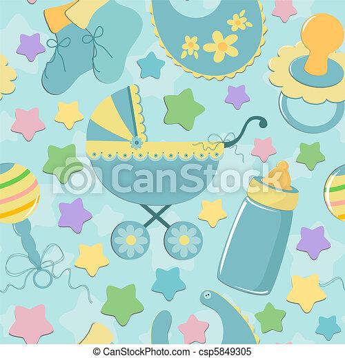 objetos, bebê, seamless, fundo - csp5849305