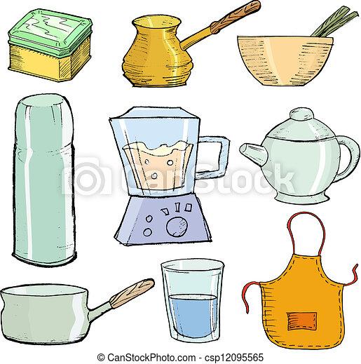 Objetos cocina conjunto objetos ilustraci n mano for Objetos de cocina