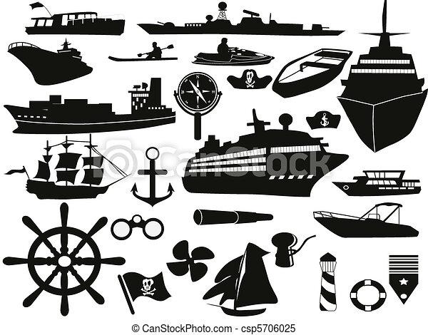 objetos, conjunto, navegación, icono - csp5706025