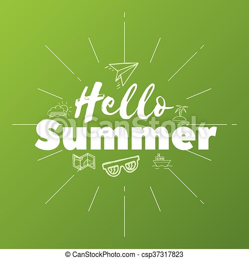 Hola texto de verano en el fondo verde, objetos de garabato, ilustración vectorial - csp37317823