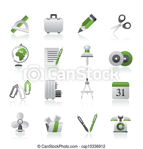 objets, bureau affaires, icônes - csp10336912
