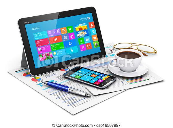 objets, informatique, tablette, business - csp16567997