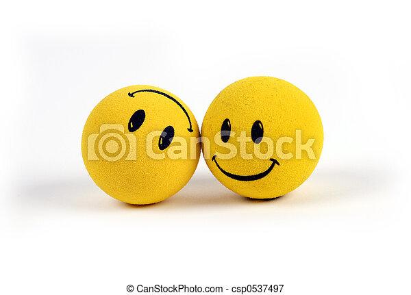 objets, -, jaune, visages souriants - csp0537497