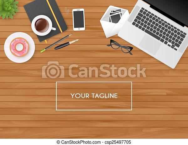 objets, lieu travail, isolé - csp25497705
