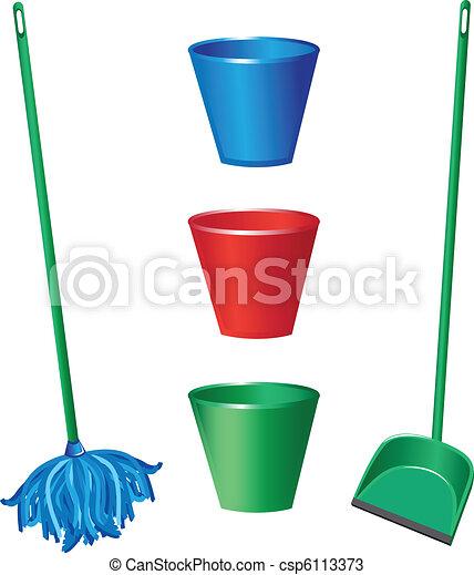 objets, nettoyage, plancher - csp6113373