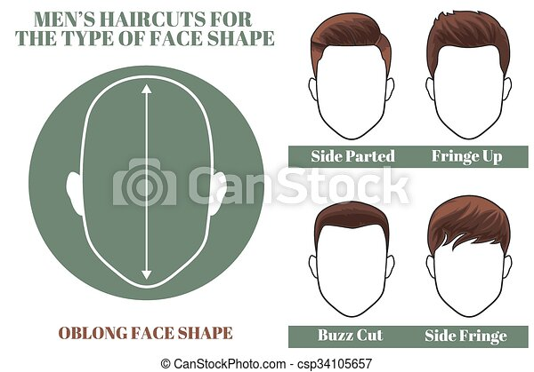 Hairstyles For Oblong Face Shape Of Man Vector Illustration