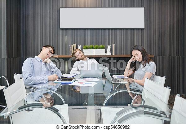 obraz, grupa, pokój, handlowy zaludniają, spanie, czysty, spotkanie - csp54650982