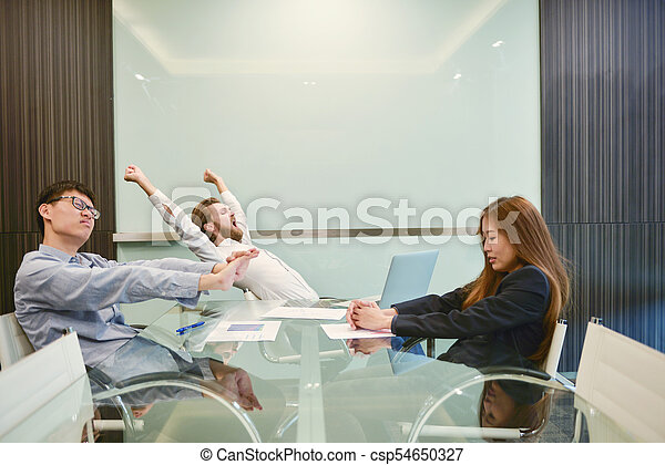 obraz, grupa, pokój, handlowy zaludniają, rozciąganie, czysty, spotkanie - csp54650327