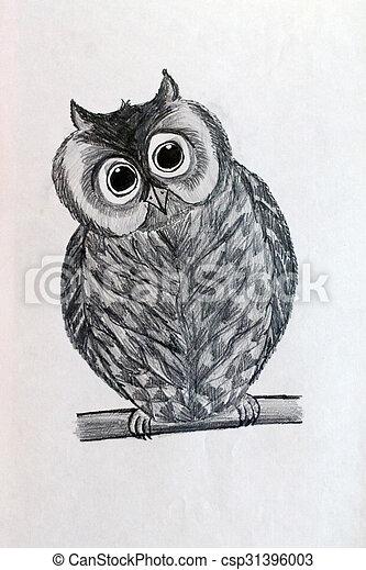 Obraz Sowa Sowa Robiony Ołówek Papier Czarnoskóry Biały Rysunek Canstock