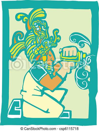 Trabajador maya con taladro - csp6115718