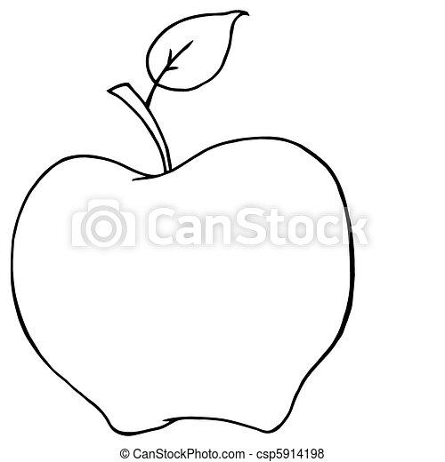 Obrys Karikatura Jablko Obrys Charakter Jablko Karikatura