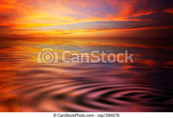 Al atardecer y al océano - csp1584076