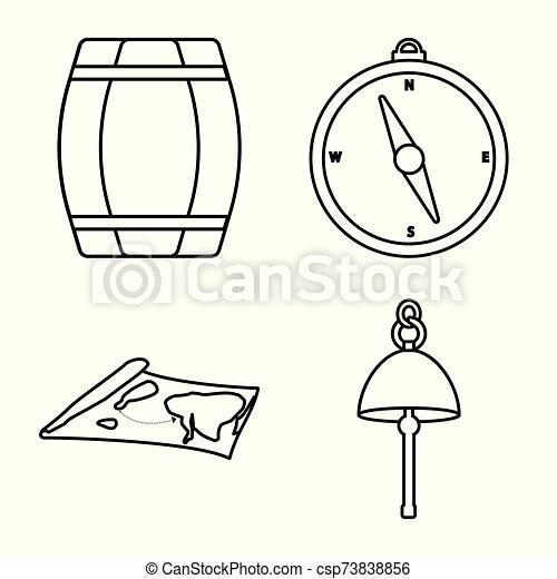 océano, icono, conjunto, stock., logo., viaje, vector, ilustración, viaje - csp73838856