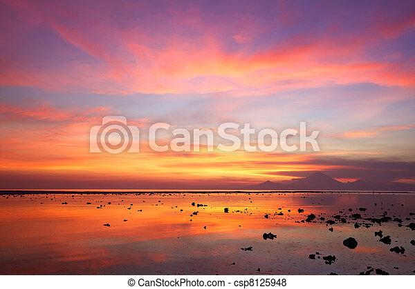 Sunset en la playa de coral - csp8125948