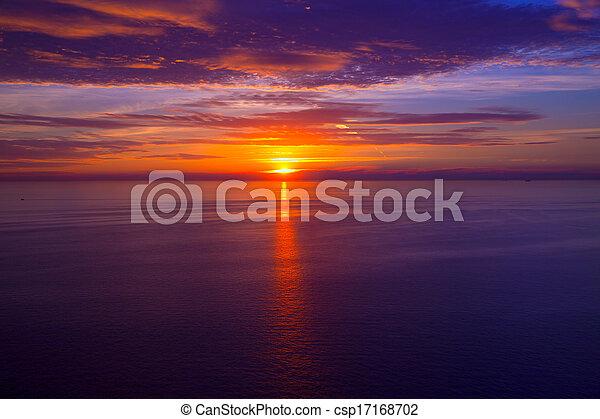 ocaso, encima, mediterráneo, salida del sol, mar - csp17168702
