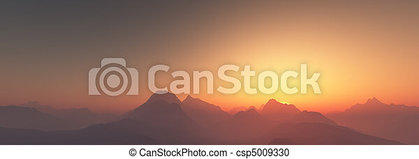 Al atardecer sobre las montañas - csp5009330