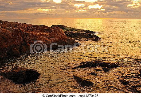 ocaso, mar, plano de fondo - csp14370476