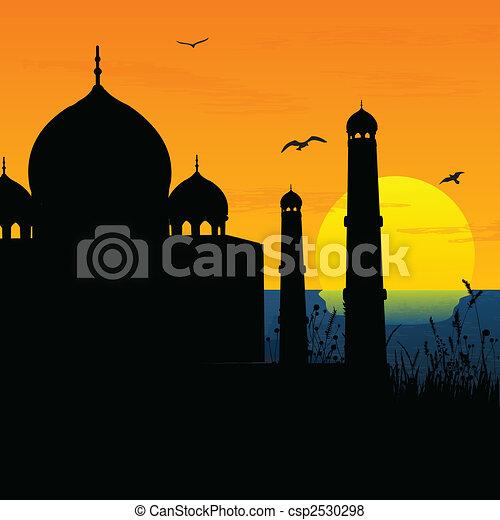 Silueta vista del Taj Mahal, agra, India, amanecer, sol - csp2530298