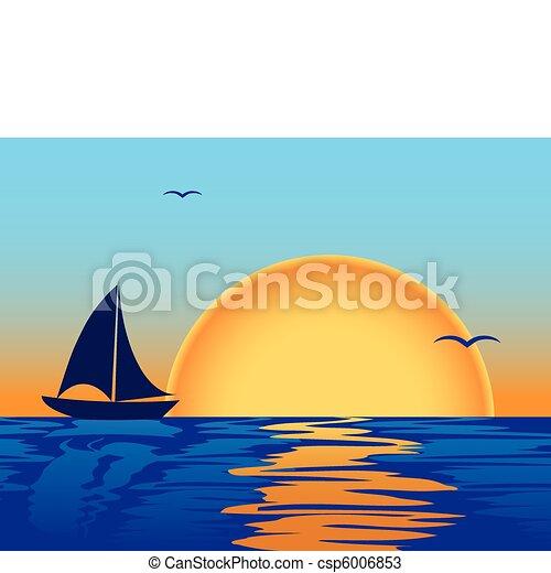 Ocaso marino con silueta de barco - csp6006853