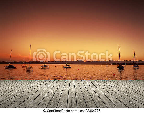Tutzing Sunset - csp23864778