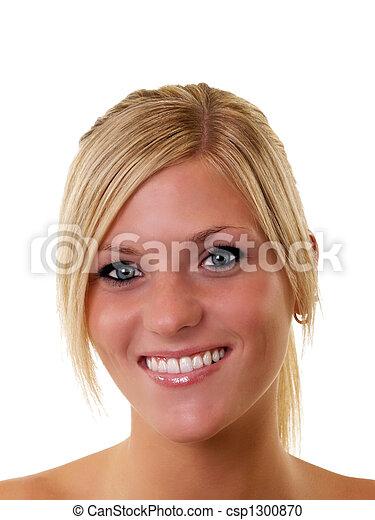 occhi blu, donna, giovane, biondo, ritratto, sorridente - csp1300870