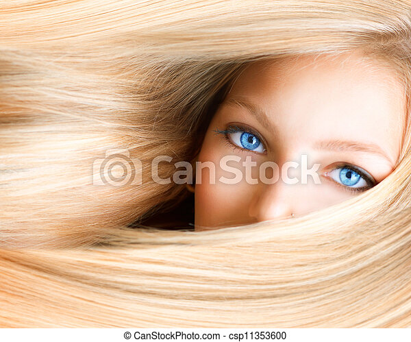 occhi blu, donna, girl., biondo, biondo - csp11353600