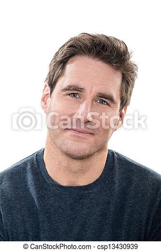 occhi blu, maturo, ritratto, uomo sorridente, bello - csp13430939