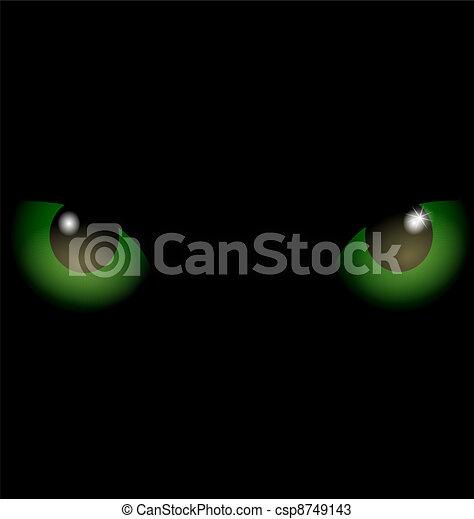 Occhi Pesti Sfondo Verde Occhi Due Gatto Sfondo Verde Nero