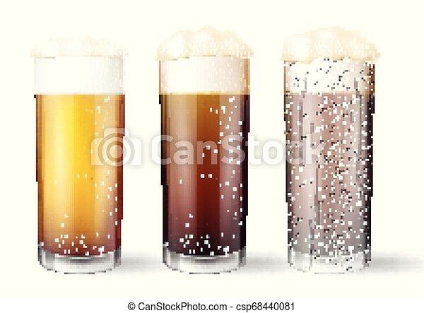 occhiali, drops., birra, realistico, acqua - csp68440081