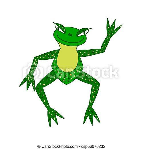 occhio, più grande, illustrazione, rana, verde, allegro - csp56070232