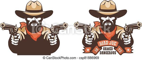occidental, barbudo, vaquero, pistolero, armas de fuego - csp81886969