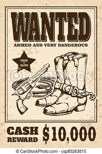 occidental, plano, cartel, querido, vaquero, vendimia, vector, botas, illustration. - csp85263815