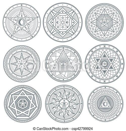Occult Mystic Spiritual Esoteric Vector Symbols Spiritual