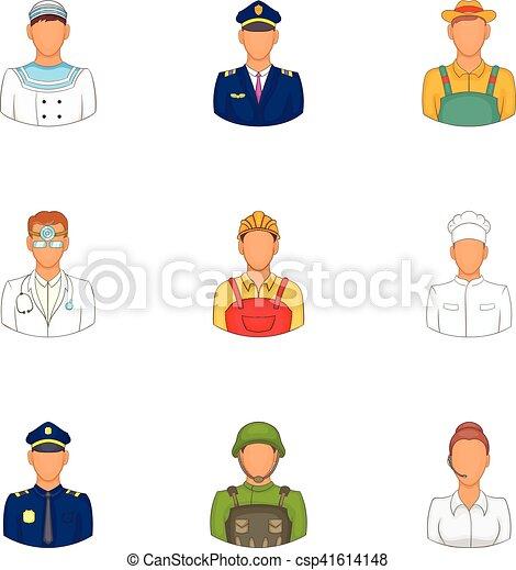 Occupation icons set, cartoon style - csp41614148